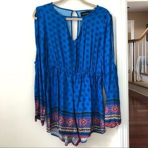 Blue Patterned MINKPINK Romper